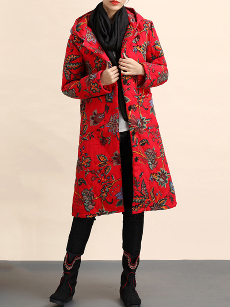 Ethnic Women Floral Printed Loose Long Sleeve Hooded Coats