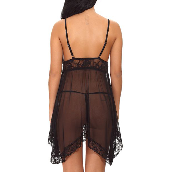 Sexy Perspective Women Lace V Neck Nightdress