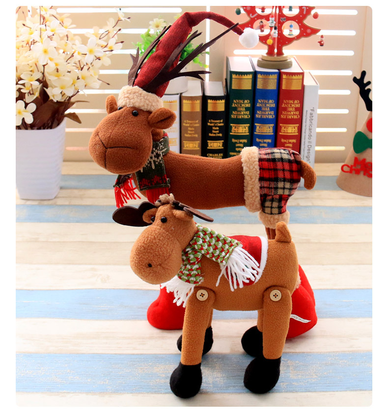 Christmas 2017 Cloth Plush Elk Ornament Table Desk Christmas Decoration kids Toy Cartoon Style Craft