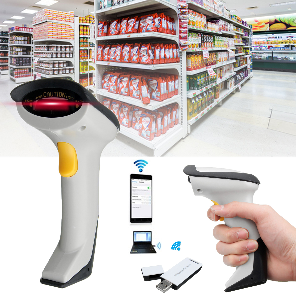 Handheld Laser Scan Barcode Barcode Scanner Reader Label POS Data