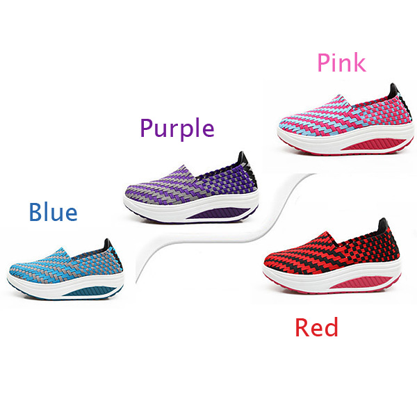 Women Leisure Platform Shoes Slip-on Knit Shake Shoes Hand knitting Sneakers