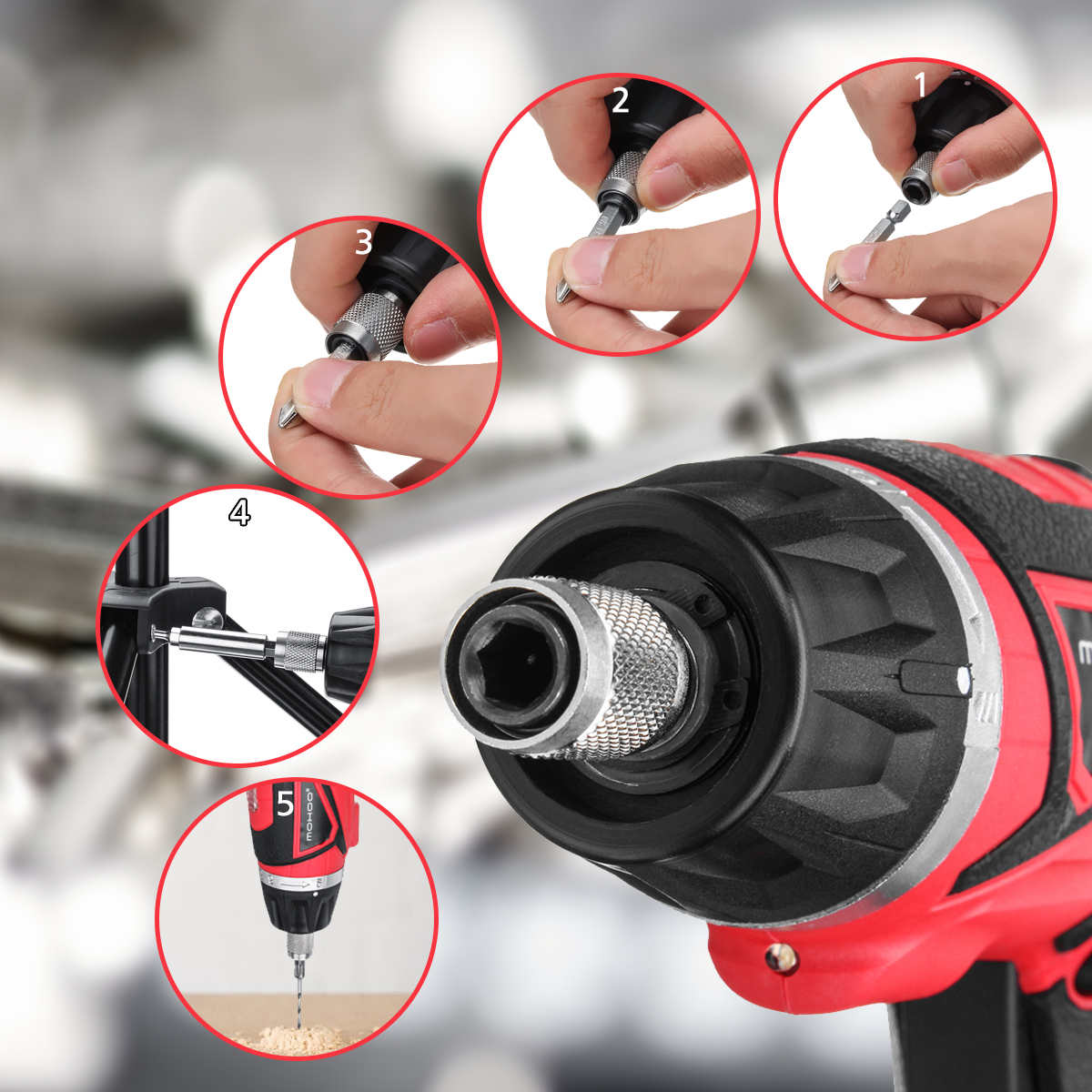 MIOHOO USB Electric Screwdriver Adjustable 4NM 3.6V Li-ion Power Screw Driver with 27 Accessories