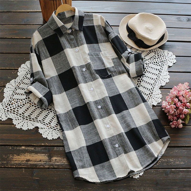Women Long Sleeve Button Down Plaid Tunic Blouse