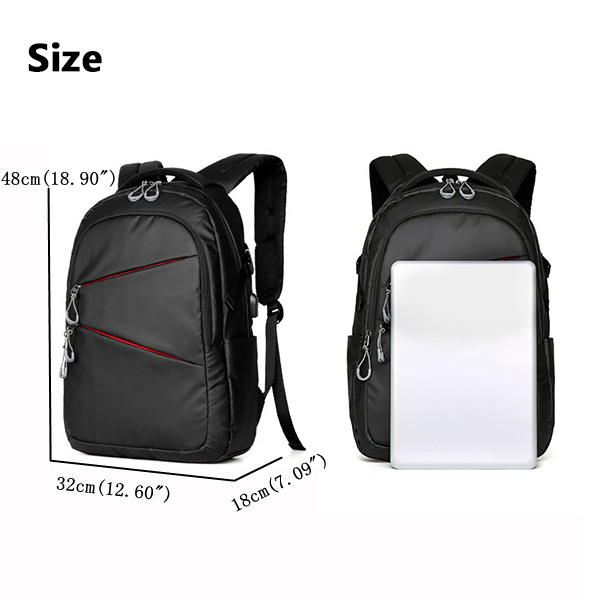 Men Oxford Large Capacity External USB Charging Travel Backpack Laptop Bag Waterproof Mochila