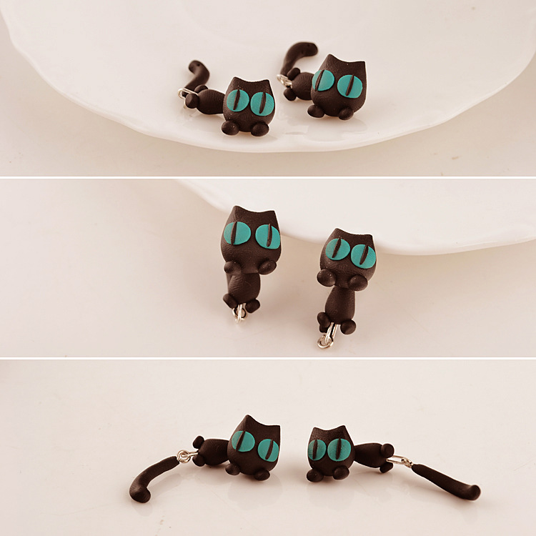Cute Animal Black Cat Stud Little Kitty Soft Clay Earrings
