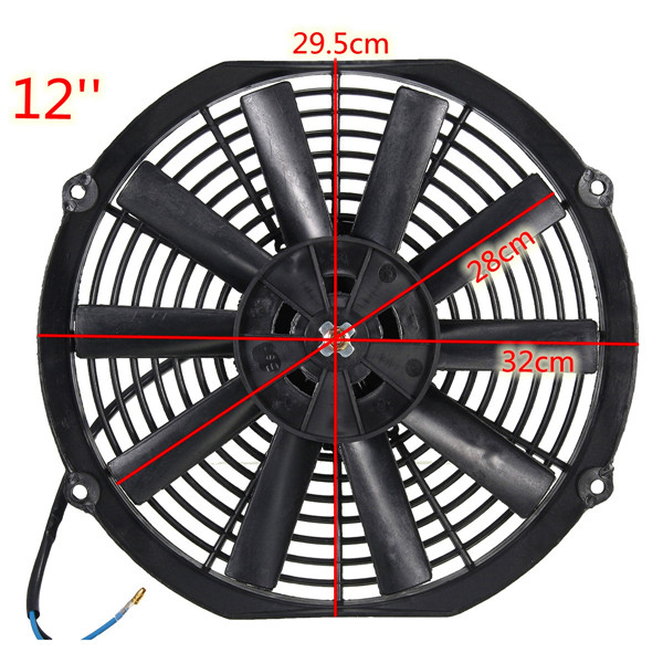 Universal 12V 80W Pull/Push Straight Black Blade Electric Cooling Radiator Fan