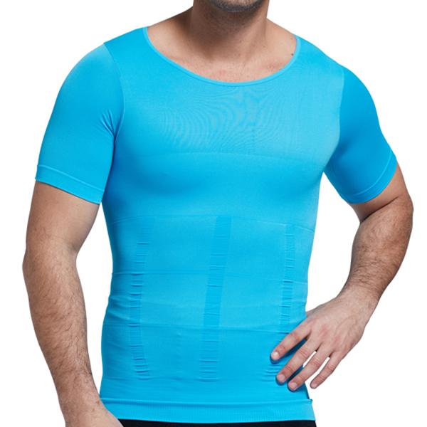 Fat Mens Elastic Body Shaper Underwear Short-sleeved Bodybuilding Tops Tee