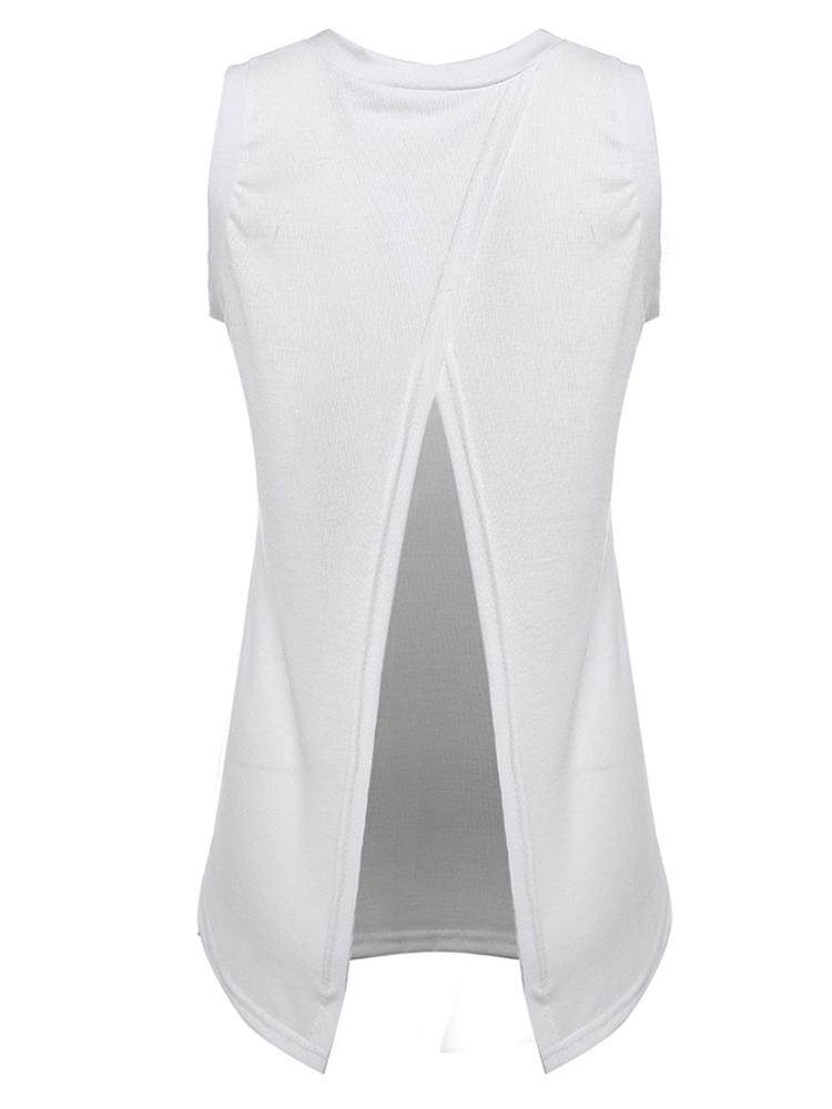 Sexy Women Sleeveless Solid White Back Split Cotton Vest Tank Top