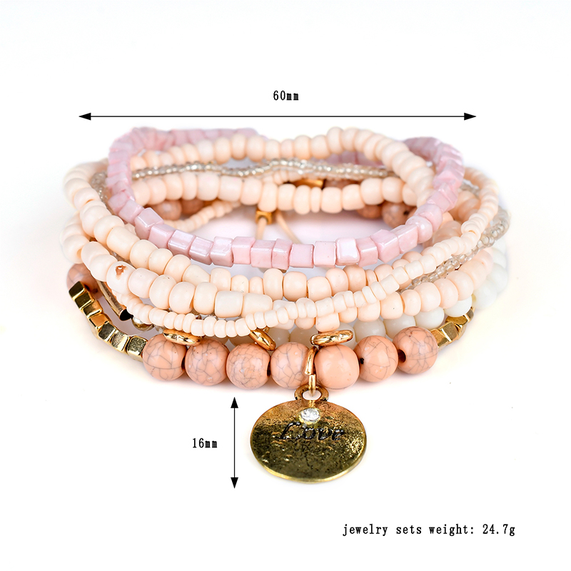 Bohemian Love Print Coin Pendant Beads Multilayer Adjustable Bracelet for Women Clothing Accessories