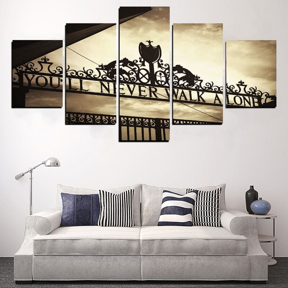 5pcs Frameless Liverpools You'll Never Walk Alone Canvas Pictures Paintings Wall Art Decorations