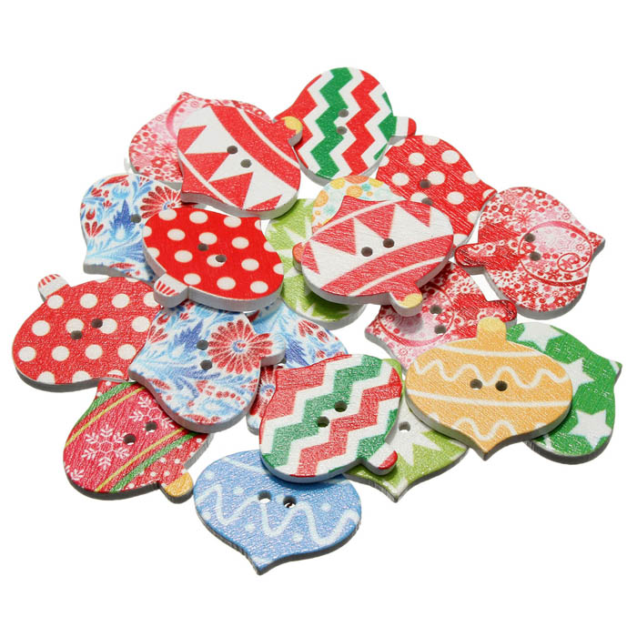 20pcs Christmas Wooden Sewing Buttons DIY Craft Purse Baby Clothes Decoration Sewing Button