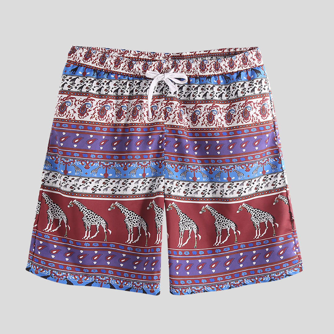 Men Print Drawstring Beach Leisure Board Shorts