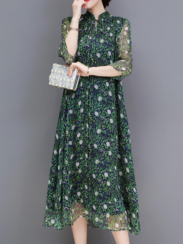 Women Floral Print Stand Collar A-Line Maxi Beach Dress