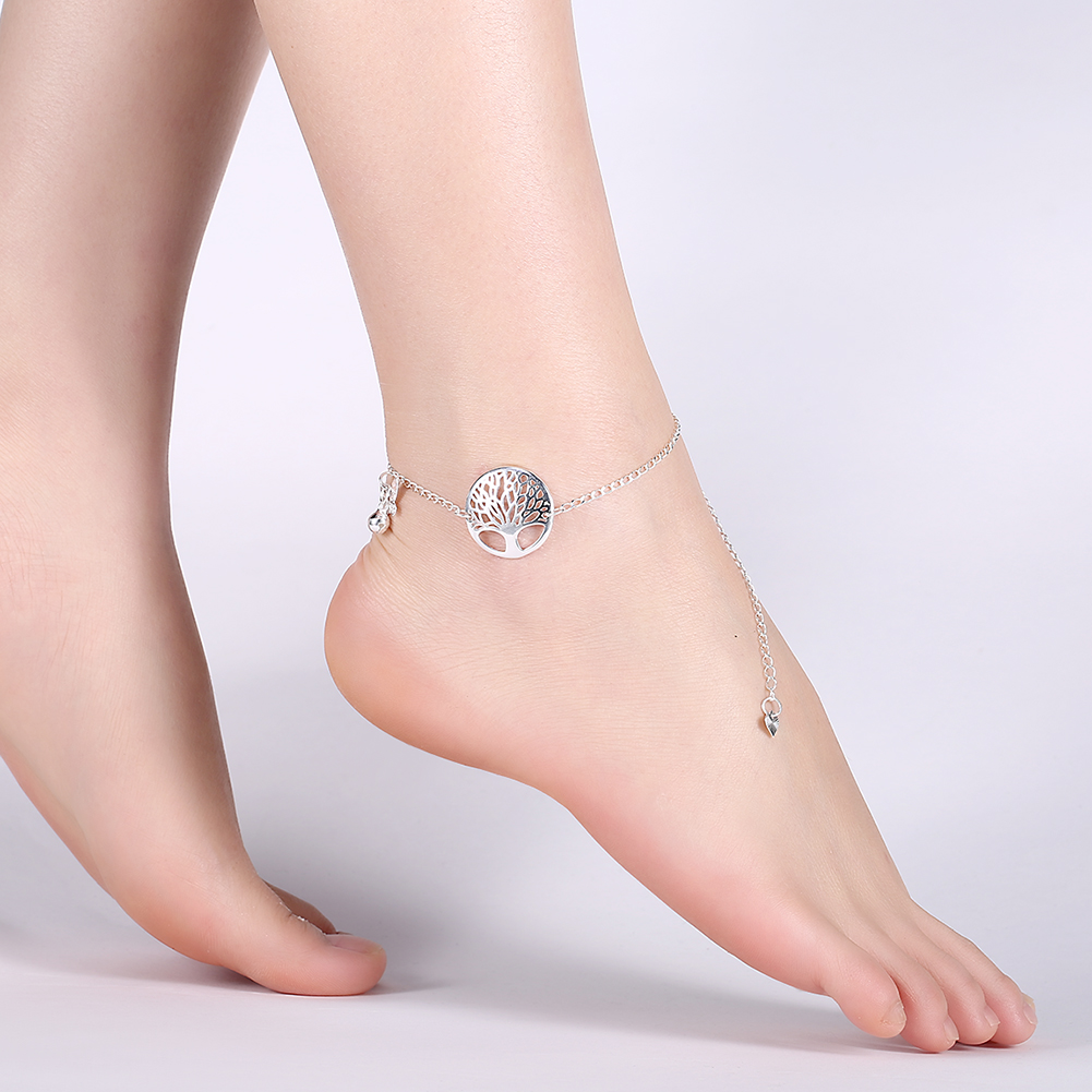 Trendy Silver Plated Chain Tree of Life Insect Pendant Anklet for Women