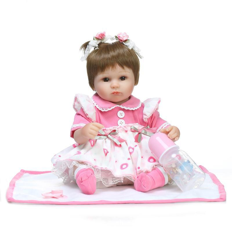 NPK 16 Inch 42cm Reborn Baby Two Pigtail Soft Silicone Doll Handmade Lifelike Baby Girl Dolls Play House Toys Birthday Gift