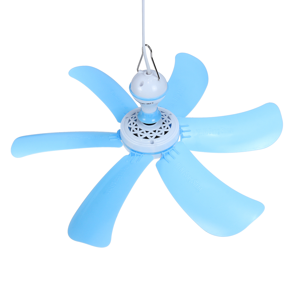 220V 7W Portable 6 Blades Mini Ceiling Fan with White ABS Blades Power Plug Switch Energy Saving Fan