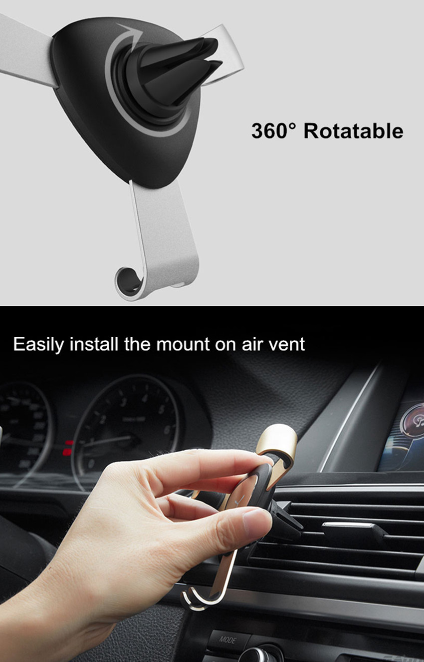 Bakeey™ Gravity Linkage Auto Lock Metal Car Air Vent Phone Holder Stand for Xiaomi Mobile Phone