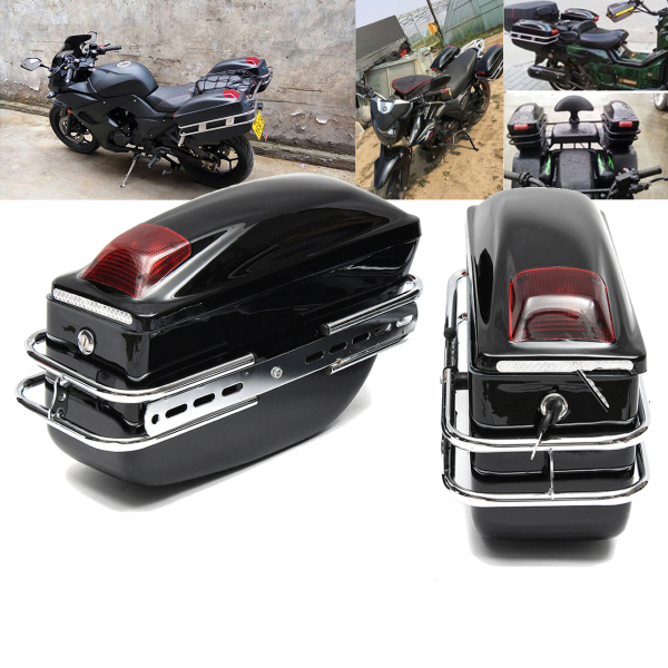 2pcs Cruiser Motorcycle Trunk W/Lights Keys Hard Saddlebags Luggages Waterproof