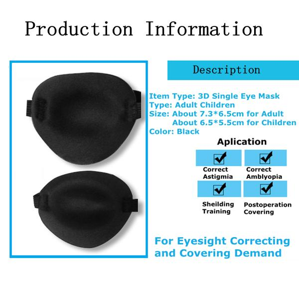 3D Stereo Single Eye Mask Eliminate Eye Fatigue Eyesight Premotion Shield Soft Breathable Blindfold