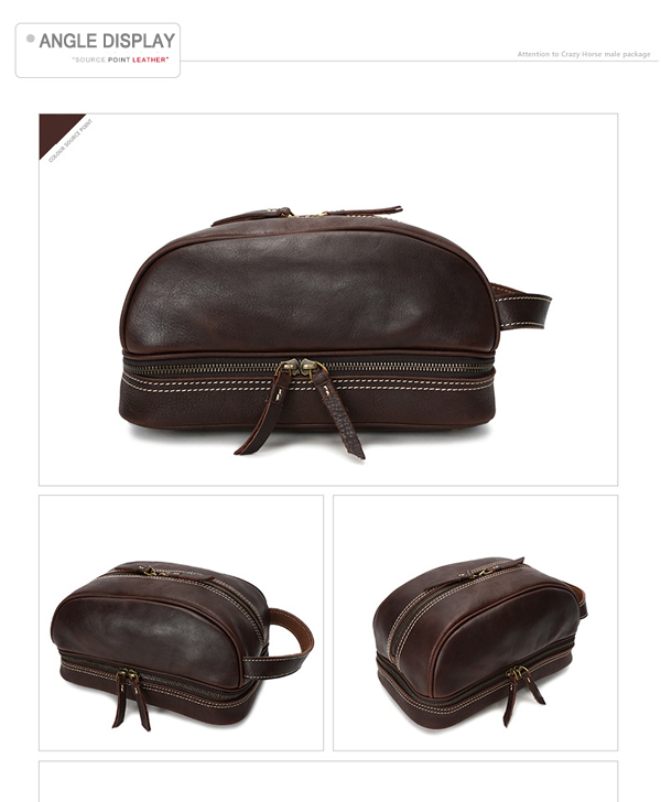 Ekphero® Men Genuine Leather Vintage Cosmetic Bag Solid Large Capacity Travel Pouch Wash Bag