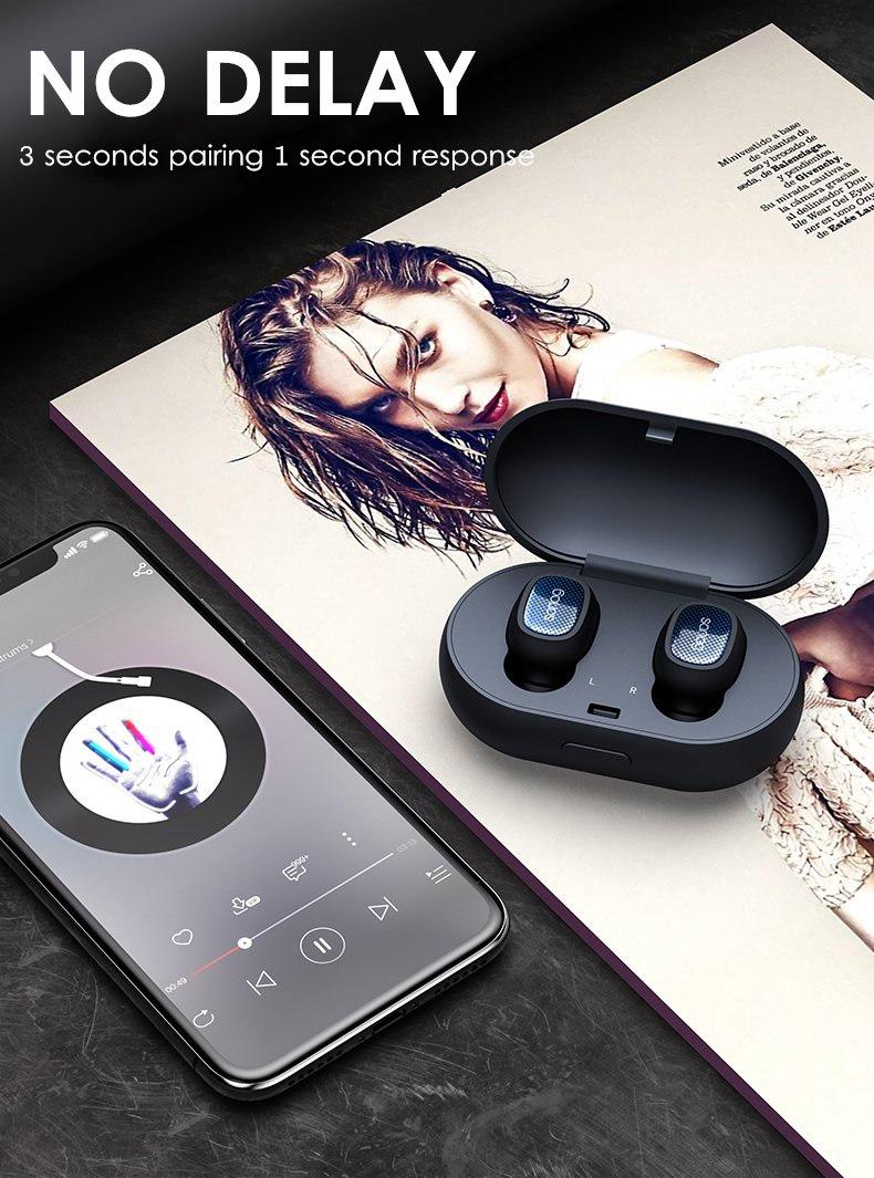 [Truly Wireless] Mini Dual Bluetooth Earphone Stereo IPX5 Waterproof Headphones With Charging Box 14