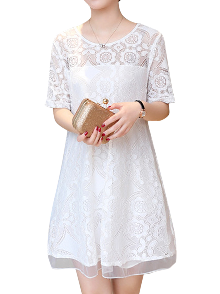 Women Elegant Short Sleeve Lace Chiffon Dresses Round Neck Mini Dress