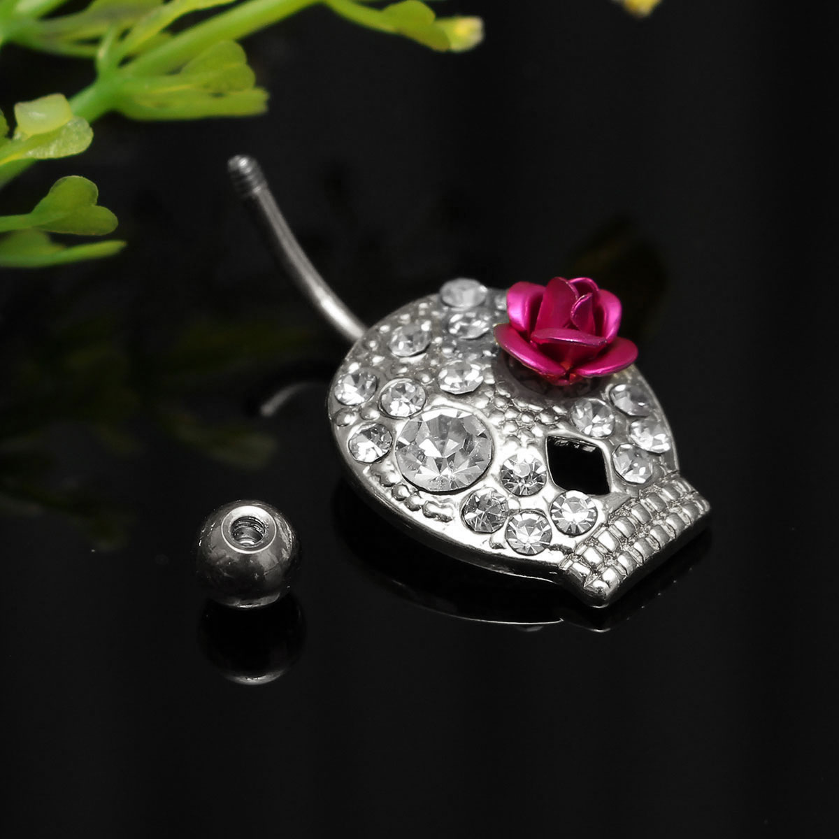 Flower Skull Navel Body Piercing Crystal Belly Bar Ring Women Jewelry