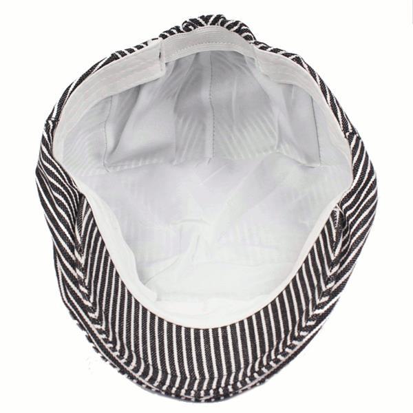 Men Cotton Stripe Beret Hat Outdoor Visor Flat Cap Women Adjustable Paper Boy Newsboy Hats