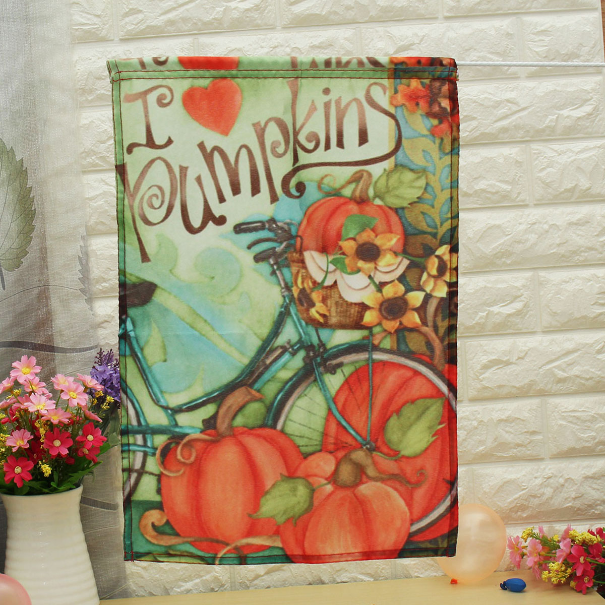 12.5''x18'' Garden Double Sided Flag Decorative I Love Pumpkins Fall Bicycle Banner Decorations