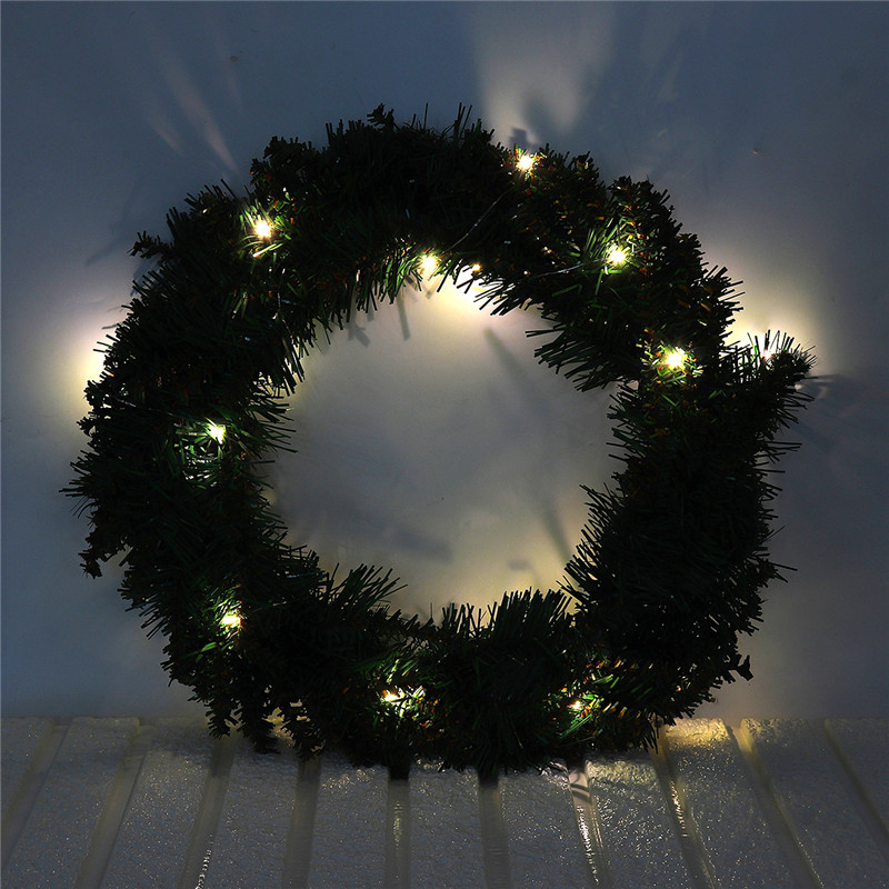 30CM 40CM Warm White Wall Hanging Garland Ornament Christmas Wreath Decor With LED Light For Xmas