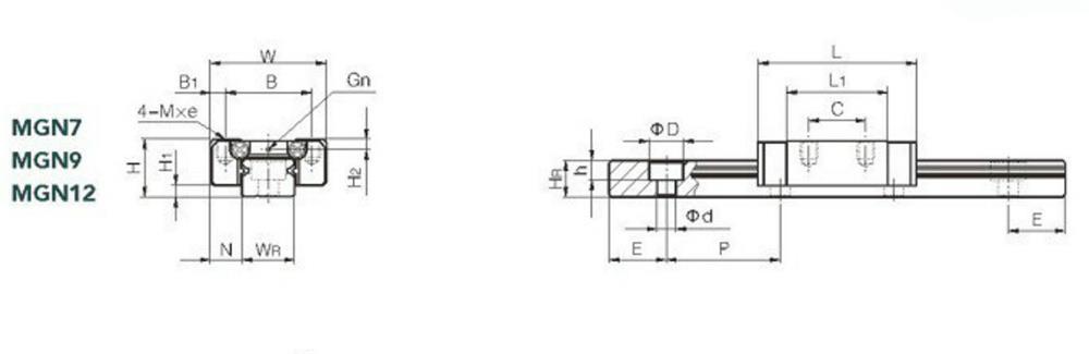 GuialineardeMachifit300mmMGN9 com a ferramenta linear do CNC do bloco do trilho de 2pcs MGN9C
