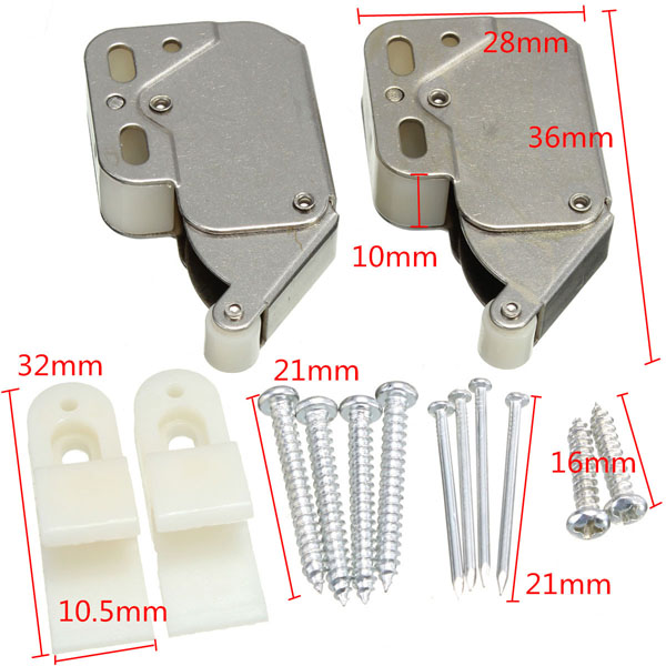 2pcs Mini Tip Catch Spring Loaded Cupboard Caravan Door Cabinet Boat Latch Lock