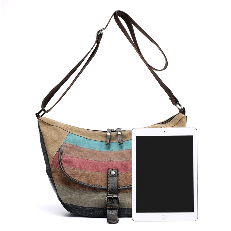 KVKY Striped Canvas Shoulder Bags Vintage Crossbody Bags