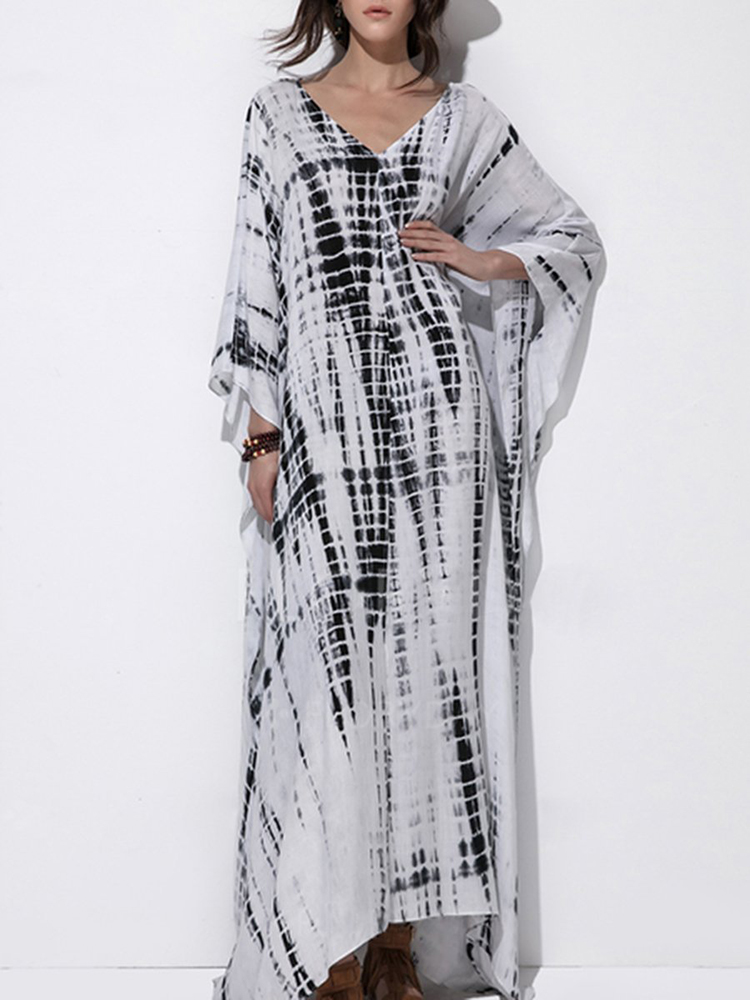 Plus Size Printed V-neck Batwing Sleeve Kaftan Maxi Dress