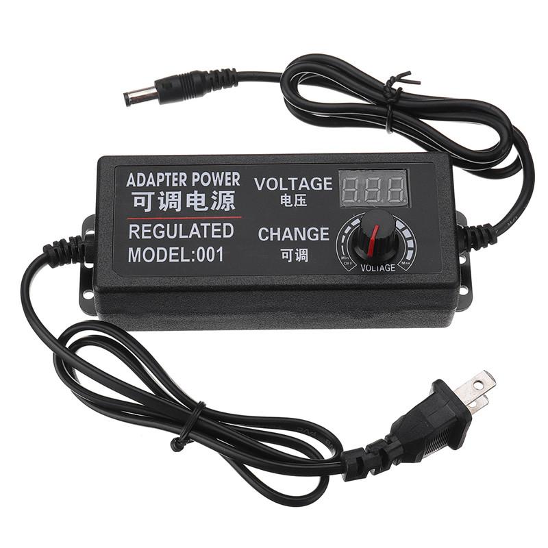 AC DC Adjustable Power Adapter Supply Plug 3-24V 2A 48W Speed Control Volt Display