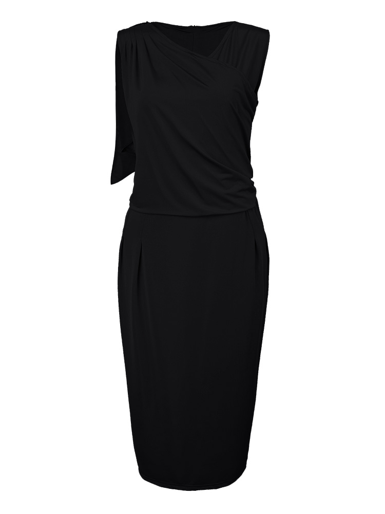 Ruffles Elegant Solid Sleeveless V Neck Bodycon Pencil Dress