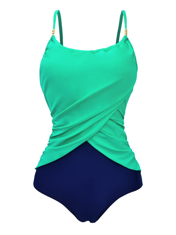 Plus Size Comfort Women Solid Color One-Piece Wire Free Cross Fold Swimsuit