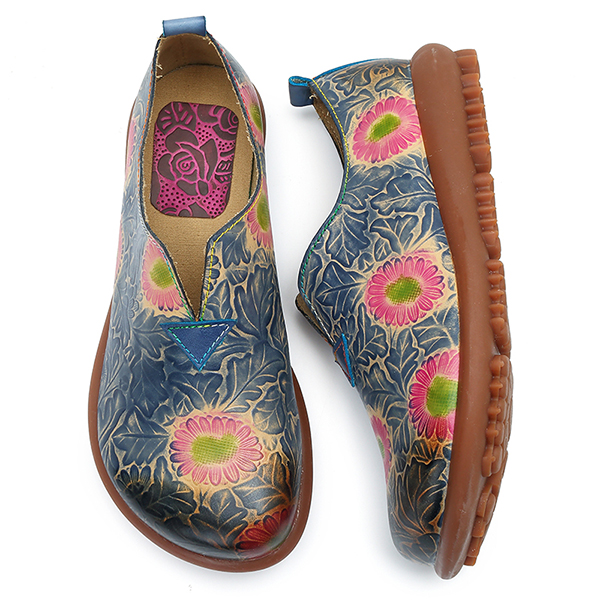 SOCOFY Leather Retro Floral Pattern Flats