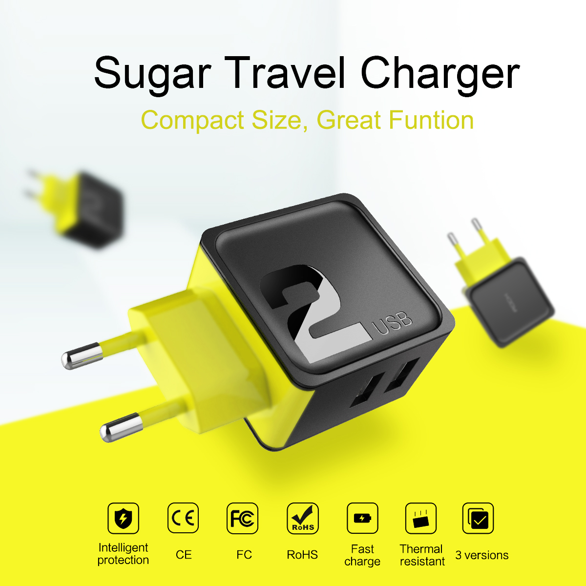 Rock 2.4A Sugar 2 USB Ports EU Plug Fast Travel Wall Charger For iphone7 SamsungS8 Xiaomi6 Redmi