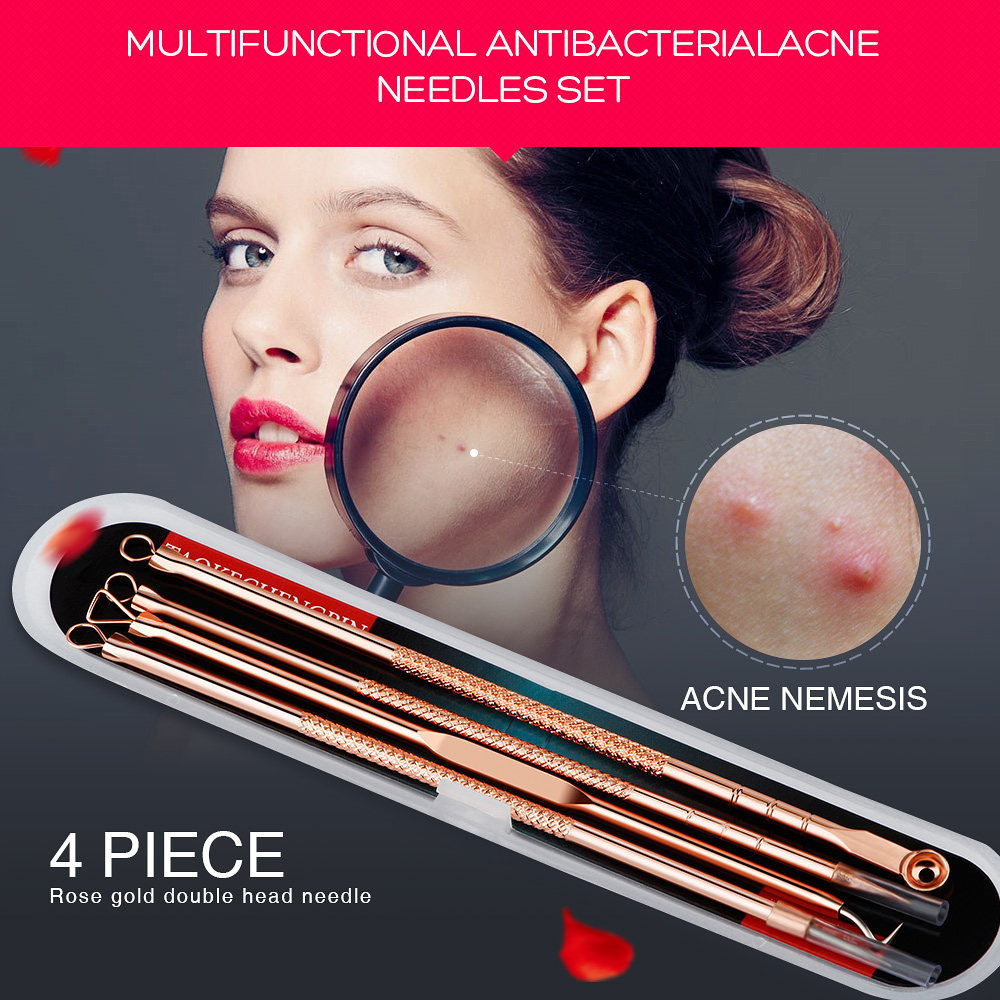 Y.F.M® 4pcs Acne Blackhead Remover Needles Set Rose Gold Double Head Pimples Multipurpose Cleansing Tool