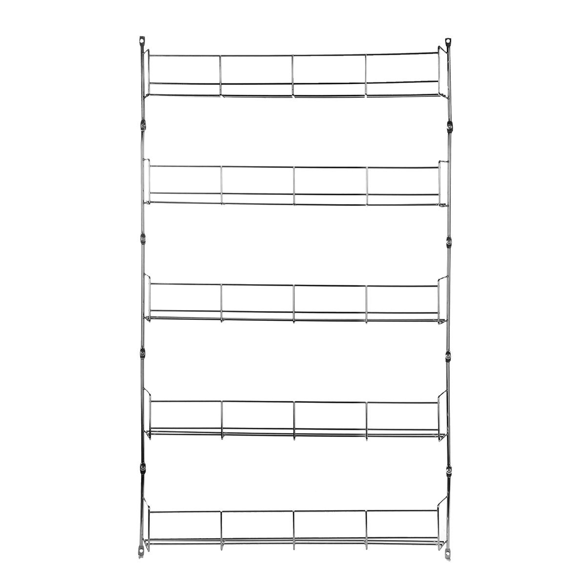 5 Tiers Kitchen Spice Rack Cabinet Organizer Wall Mount Storage Shelf Holder Kitchen Storage Rack