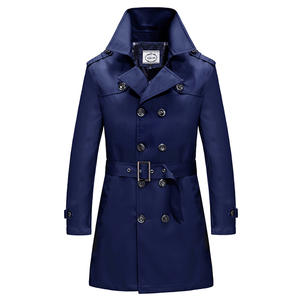 Mens Double Breasted Turn-down Collar Jacket Fashion Solid Color Casual Autumn Plus Size Trench Coat