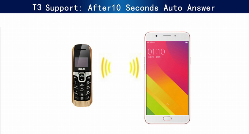 LONG-CZ T3 0.66'' 500mAh Voice Changer Vibration Smallest Smart bluetooth Earphone Mini Card Phone