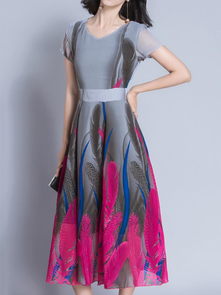Elegant Women Feather Printed Short Sleeve High Waist Maxi Dress