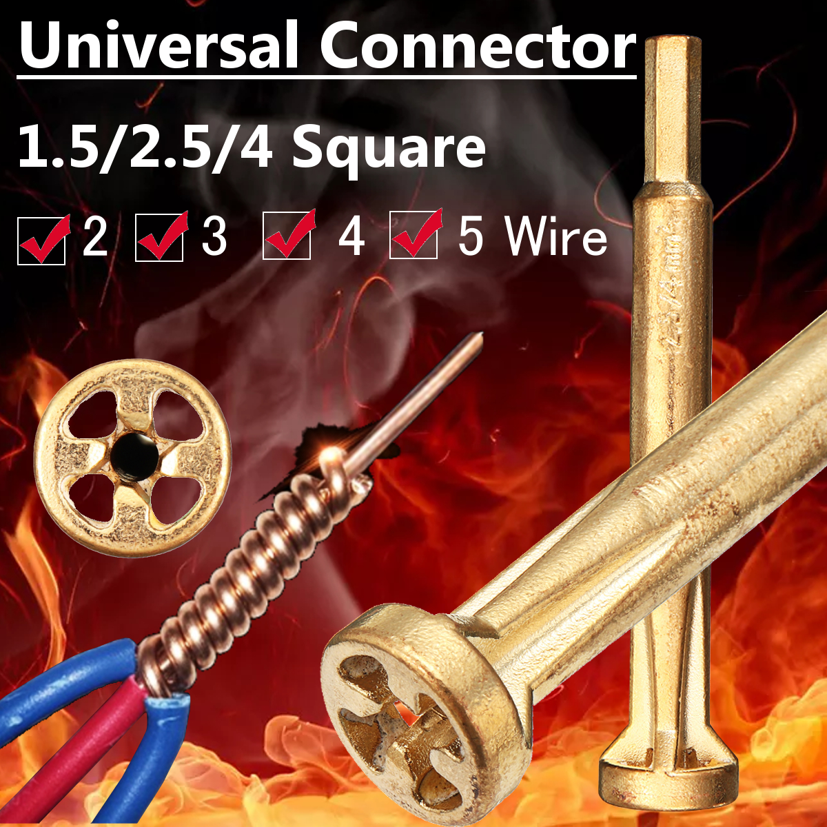 Universal Wire Connector Electrical Cable Quick Connector Parallel Electrical Wire Electrical Drill Bit Cable Stripper Connector 1.5-2.5-4 Square