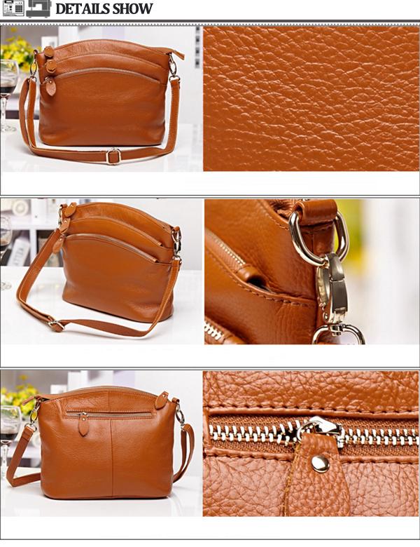 Women Genuine Leather Shoulder Bag Multi Pocket Travel Crossboby Bag