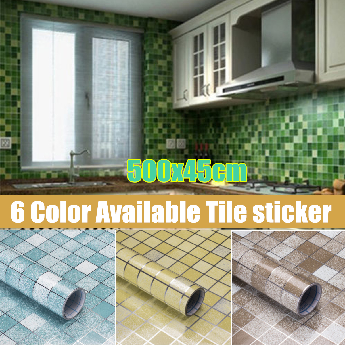 45x500cm Waterproof Moroccan Wall Tile Sticker Decal Anti Oil Kitchen Home Decor
