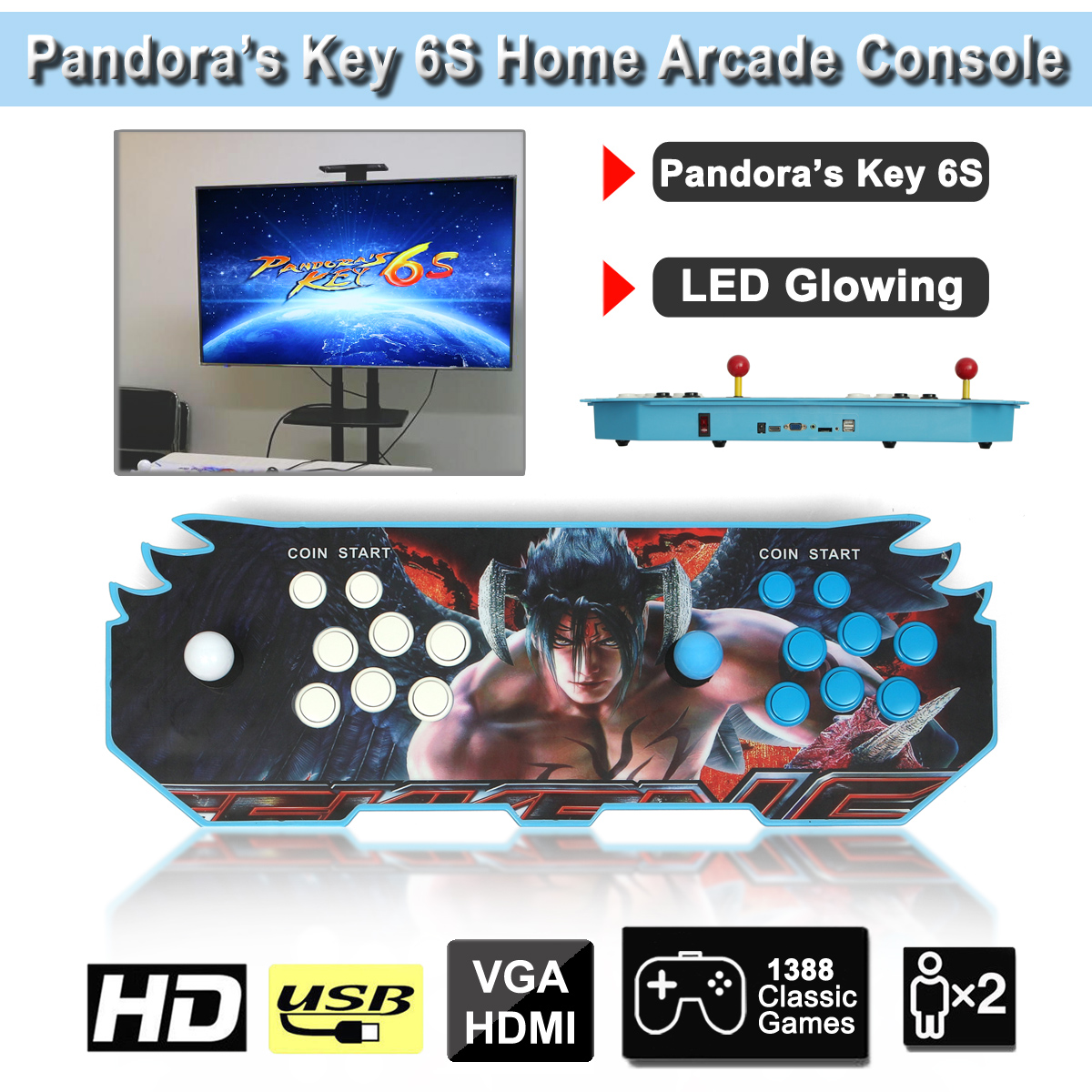 PandoraBox Key 6s 1388 in 1 Retro Games Double Stick Arcade Game Console LED Light