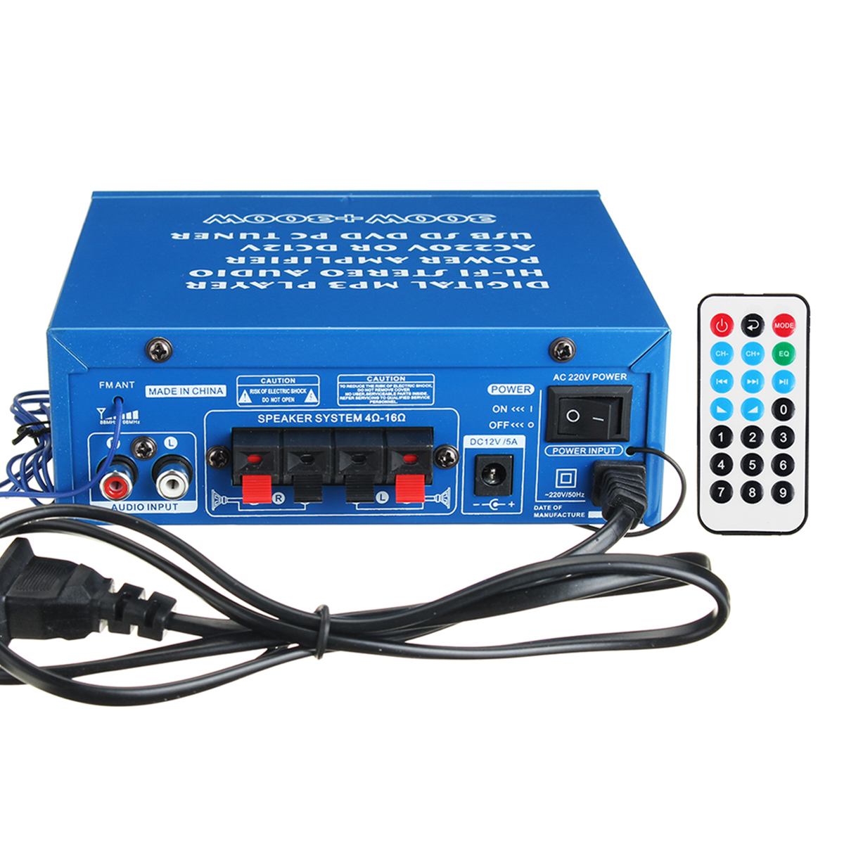220V/12V 80W 2 Channel Home Power Amplifier Audio Stereo USB bluetooth Hi-Fi Remote Control