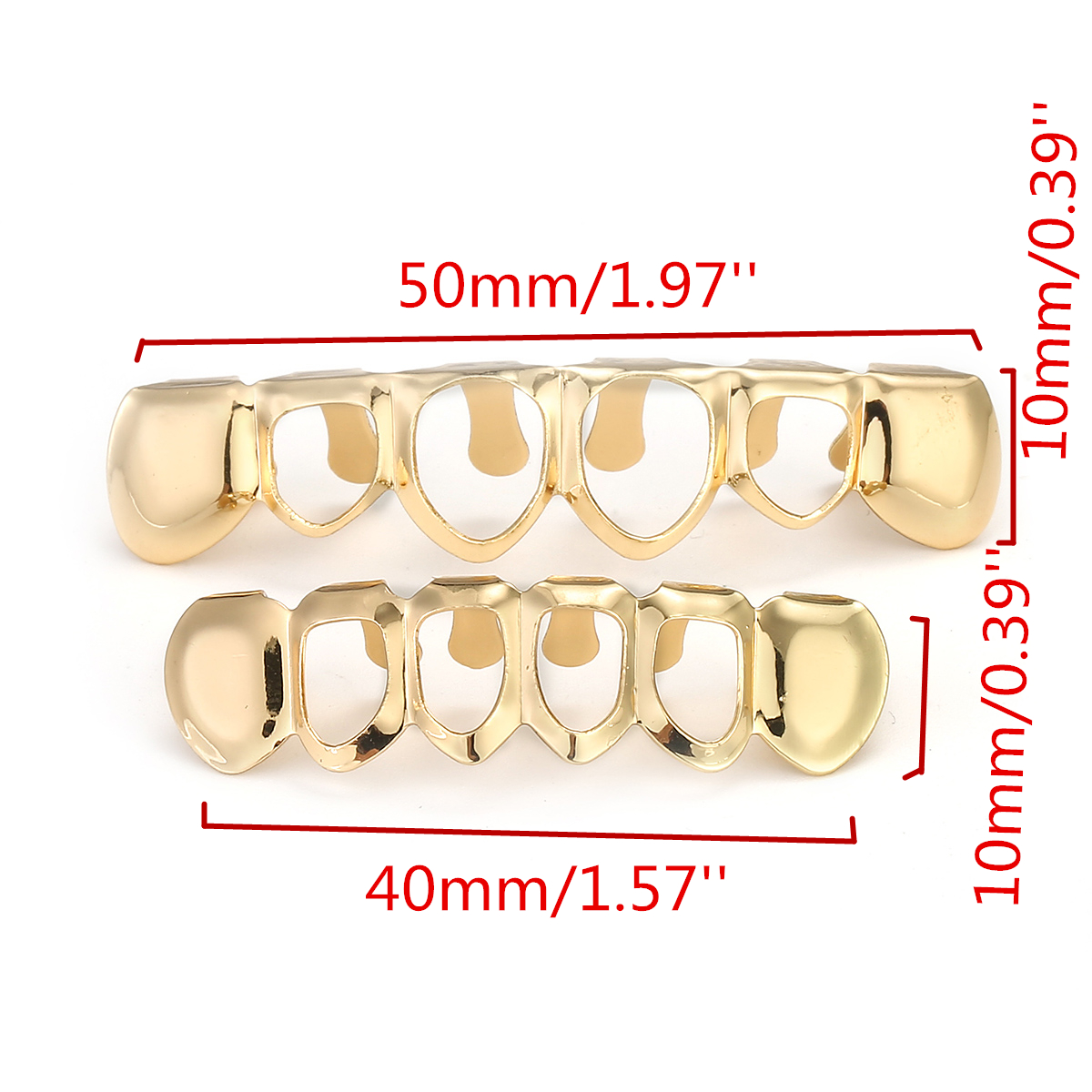 Gold Plated Open Face Fangs Teeth Top&Bottom Mouth Grillz Caps